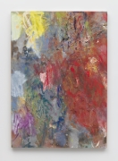 Abstract painting using smears of red, faded navy blue, and yellow.
