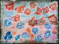 A painting of red and blue roses. The red roses are in the air, behind a blue backdrop, while the blue roses are at the bottom, behind a red backdrop.