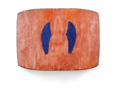washed orange painting with blue vertical accents