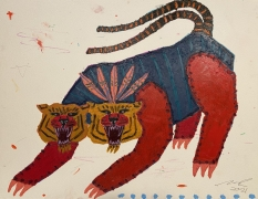 A painting of a double headed tiger