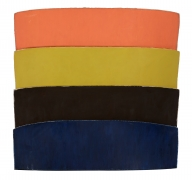 Large Painting in shades of orange, yellow,black and blue
