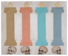 A painting of four columns, brown, pink, blue, and navy. Golden orbs are placed on top while skulls are resting underneath the pillars.