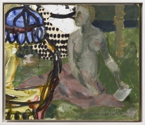 A painting by Markus Lüpertz depicting a figure seated in an abstract outdoor setting