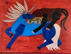 A painting of an apex predator with two tigers, and a red background