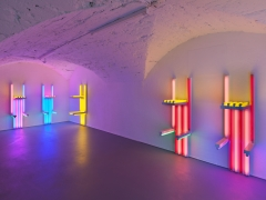Installation view,Dan Flavin, to Lucie Rie and Hans Coper, master potters,Vito Schnabel Gallery, St. MoritzArtwork © Stephen Flavin / Artists Rights Society (ARS), New York; Courtesy the Estate of Dan Flavin and Vito Schnabel Gallery; Photo by Stefan Altenburger