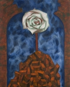 A painting of a white rose emerging over a pile of bricks. The sky is a dark blue and foggy.