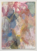 Abstract painting using washes of pink, blue, yellow, and faded green.