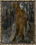 A painting by Markus Lüpertz depicting a hunter
