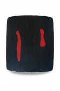 black painting with two red vertical lines