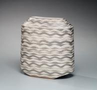 Morino Hiroaki Taimei (b. 1934), Flower Vase with Wavy Pattern in Silver Glaze