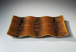 Suzuki, Tetsu, undulating, rectangular, platter, carved, horizontal, linear, stripes, pooling, brown, red, iron, glaze, stoneware, clay, ceramics, pottery, foot, contemporary, japan, japanese, art, mirviss, gallery