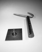 Yamada Hikaru (1923-2001), L-shaped silver slip-glazed sculpture perching on tube