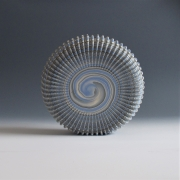 """Ogata Kamio (b. 1949), Neriage(marbleized) top-like sculpture with carved, ridged surface titled """"Lunar Landing"""""""