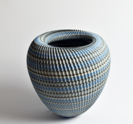 "Ogata Kamio (b. 1949), Neriage (marbleized) vessel with carved, ridged surface titled ""Abyss"""