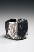 Black and white neriage (marbleized) sake cup with silver glaze droplets and dripped black glaze, 2017