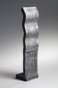Silver slip-glazed, tall undulating, standing sculpture, 1987