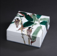 Porcelain covered box depicting titmice and bamboo, 2017