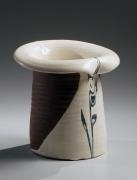 Kondo, Yutaka, Kondo Yutaka, Japanese, ceramics, Japanese ceramics, clay, pottery, modern, white, black, ink, glaze, rolled, mouth, vase, stoneware, 1960