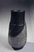 Kondō Yutaka (1932-1983), Elongated, standing black glazed vase