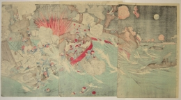 Unknown, Naval battle, Sino-Japan war, triptych