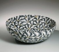 White, black, gray and yellow large neriage (marbleized) bowl, 1989