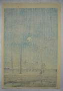 Kawase Hasui (1883-1957), Winter moon over Toyama plain
