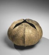 Akashi Ryōtarō (b.1971), Gold-glazed fruit-inspired ridged, lobed sculpture with three-part mouth, titled Fruit