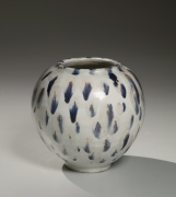 Round tsubo (vessel) decorated with splashes in indigo blue glaze, ca. 1950