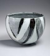 Grey, white, and merlot-striped vessel, ca. 1970