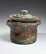 Harada Shuroku, Bizen water jar, ash-glazed, 1998, glazed stoneware Japanese mizusashi, Japanese contemporary ceramics, Japanese water jar, Japanese ceramics, Japanese pottery