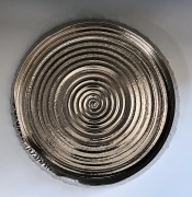 Miwa Hanako (b. 1958), Lotus leaf-shaped platter with interior swirl patterning and silver glaze