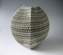 Four-sided sharp-edged, rounded neriage (marbleized) vessel with square base that stretches into a rounded triangular mouth with pleated surface of gray, white, black, and teal colored clays, 2013