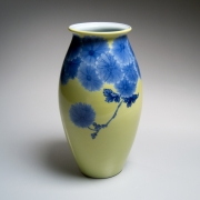 Yellow-glazed, Blue Chrysanthemum-patterned VaseYellow-glazed, blue chrysanthemum-patterned standing vase with flared mouthca. 1930Glazed porcelain12 x 6 1/4 in.Inv# 9955$ 12,000