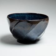 Shimizu Uichi, Japanese glazed stoneware, Japanese tenmoku-glazed bowl, tenmoku glaze, 1960