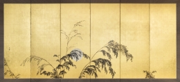 Hashimoto, Gaho, Hashimoto Gaho, Japanese screens, screen, screens, pair, gold, sun, bamboo, gold leaf, antique, pine, sun, setting sun, full moon, japan, art, japanese art, mirviss, gallery, for sale, art for sale