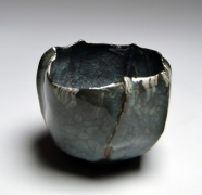 WAKAO KEI (b. 1967), Blue craquelure celadon-glazed flower-shaped teabowl with kiln-effect