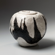 Suzuki Goro, Japanese glazed stoneware, Japanese black and white-glazed water jar, Japanese raku-glazed water jar, Japanese raku mizusashi, 2000