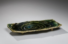Katō Yasukage (1964-2012), Mino ware, Oribe type rectangular, footed platter with carved, spiral patterning