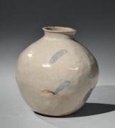 Kitaōji Rosanjin (1883-1959), Yellow Seto(ki-seto)tsubo-shaped vase with a copper-underglaze splash pattern