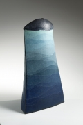 Tall, rectangular blue and green vase with black-glazed top, 2004