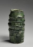 Okabe Mineo (1919-1990), Mino ware, Oribe typecolumnar vase with alternating carved banding