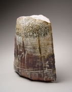 Large thickly potted round vase with an oval mouth and grey shino glaze with wax-resist stripes, 2005