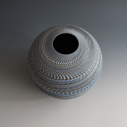"Ogata Kamio (b. 1949), Neriage (marbleized) vessel with carved, ridged surface titled ""Rinpa""2019"