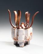 SUZUKI OSAMU (KURA) (b. 1934), Mino ware Shino type carved, lobed, incense burner (kōro) with cover topped with eight rising, flame-like bands