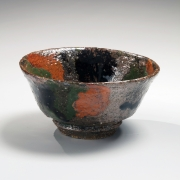 Sencai three-color splashes on a brown ground bowl, ca. 1963