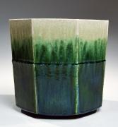 SUZUKI TETSU (b. 1964), Gradated green-glazed hexagonal vessel