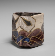 Nakamura Takuo (b. 1945), Faceted sake cup with rinpa-style wave patterning
