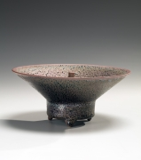 Kamada Kōji (b. 1948), Sparkling purple tenmoku round incense burner with wide outspread mouth, recessed punctuated knobbed cover and tubular, footed base