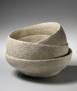 Sakiyama Takayuki, Round banded double-walled vessel with incised linear design on cascading folds, 2012, Japanese contemporary ceramics, Japanese sculpture