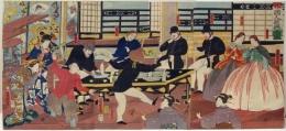 Subject: Gaikokujin yûkyô no zu; Foreigners Making Merry